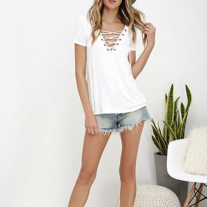 Women's Casual Lace-Up Blouse