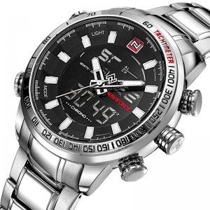 Stainless Steel Watches for Men with Dual Display