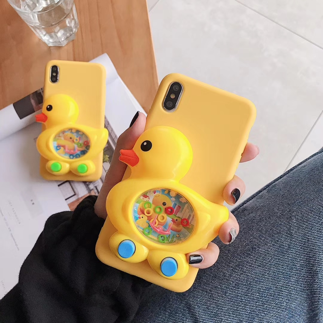 3D Duck Game Yellow Silicone Case for iPhone