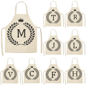 Crown and Letter Printed Kitchen Apron