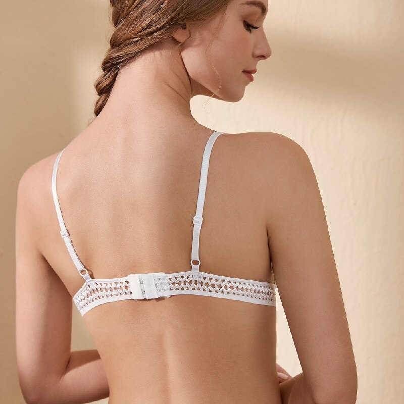 Women's Embroidered Lace Sexy Wireless Bra