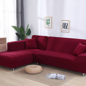 Solid Color Wraping Corner Sofa Cover