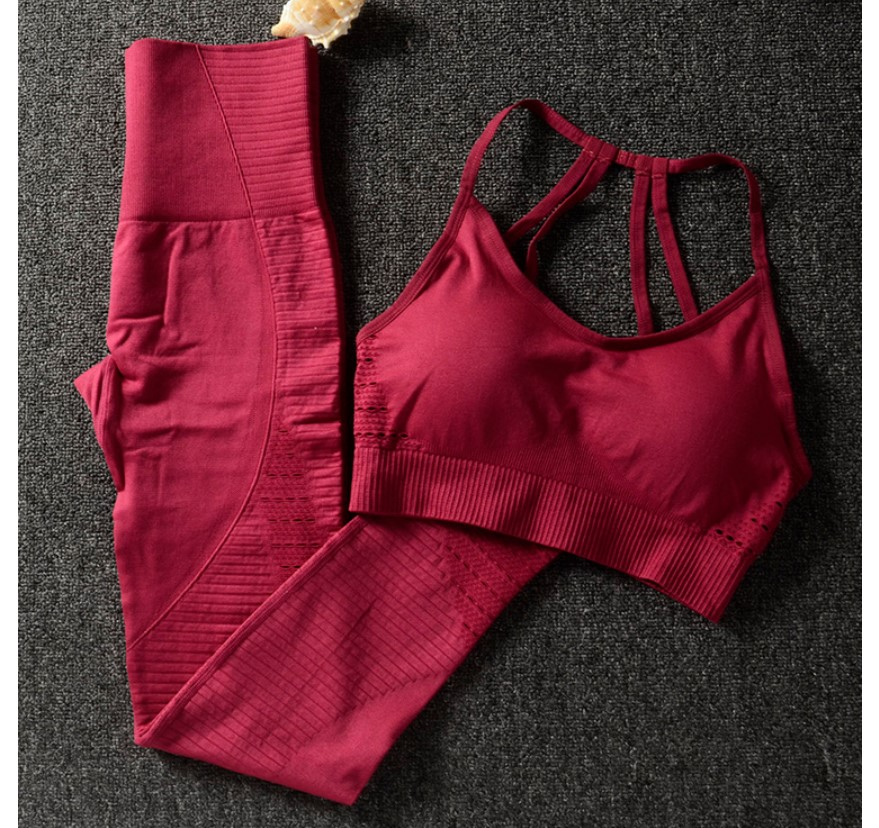 Women's Solid Color Sports Bra and Leggings Set