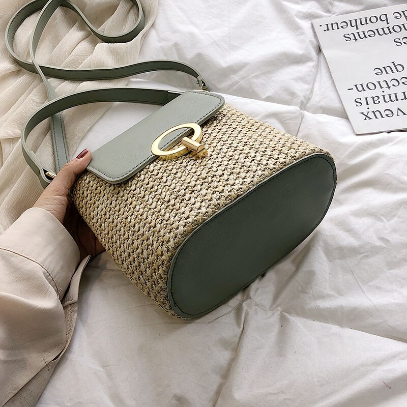 Small Straw Bucket Bags for Women