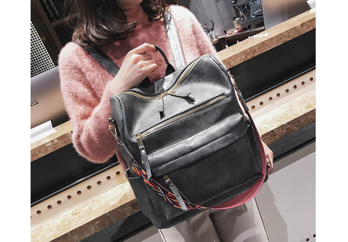 Women's Eco-Leather Backpack with Ethnic Style Strap