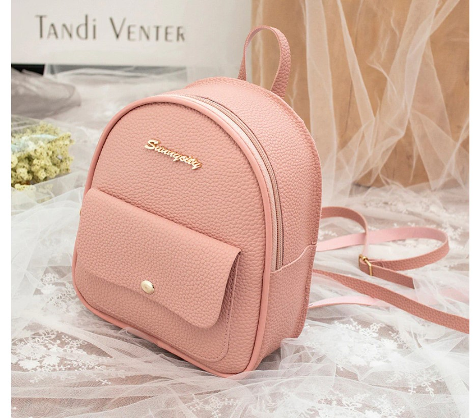 Women's Textured Eco-Leather Mini Backpack