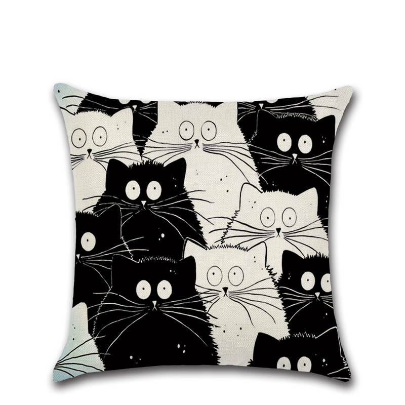 Cotton Cushion Cover in Cat Print