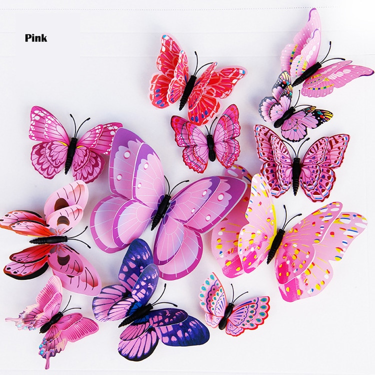 Double Layer 3D Butterfly Shaped Wall Sticker 12 pcs Set