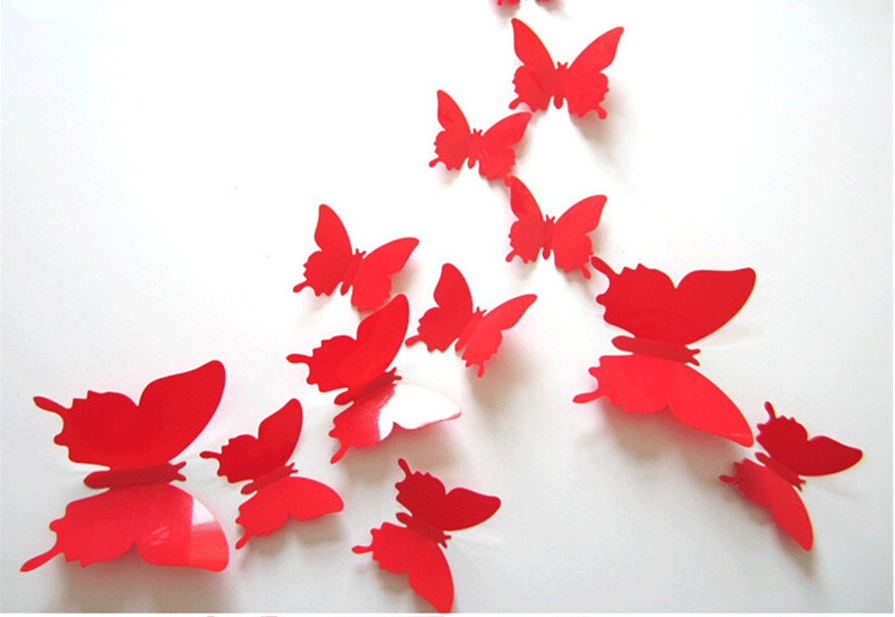 Colorful 3D Butterfly Wall Stickers Set