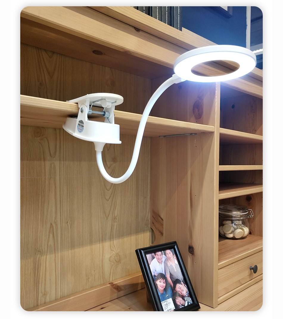 White Acrylic Desk Lamp with Clip