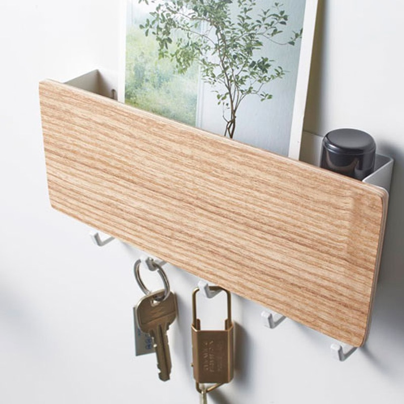 Wall Mounted Wood Colored Rack with Hooks