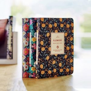 Diaries with Floral Patterned Faux Leather Cover